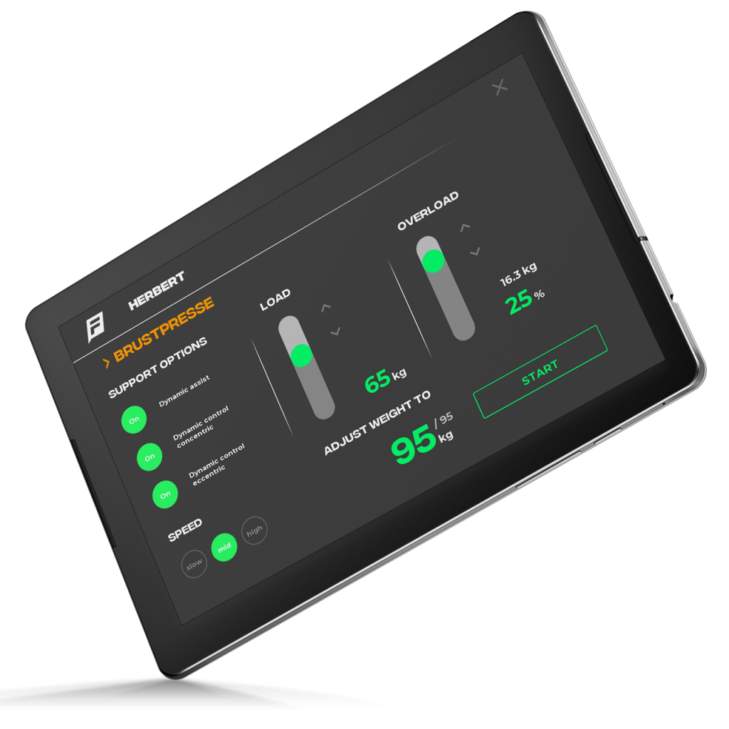 FYNAMICS App Screenshot, isodynamisches, exzentrisches Training, exzentrisches Trainingserlebnis
